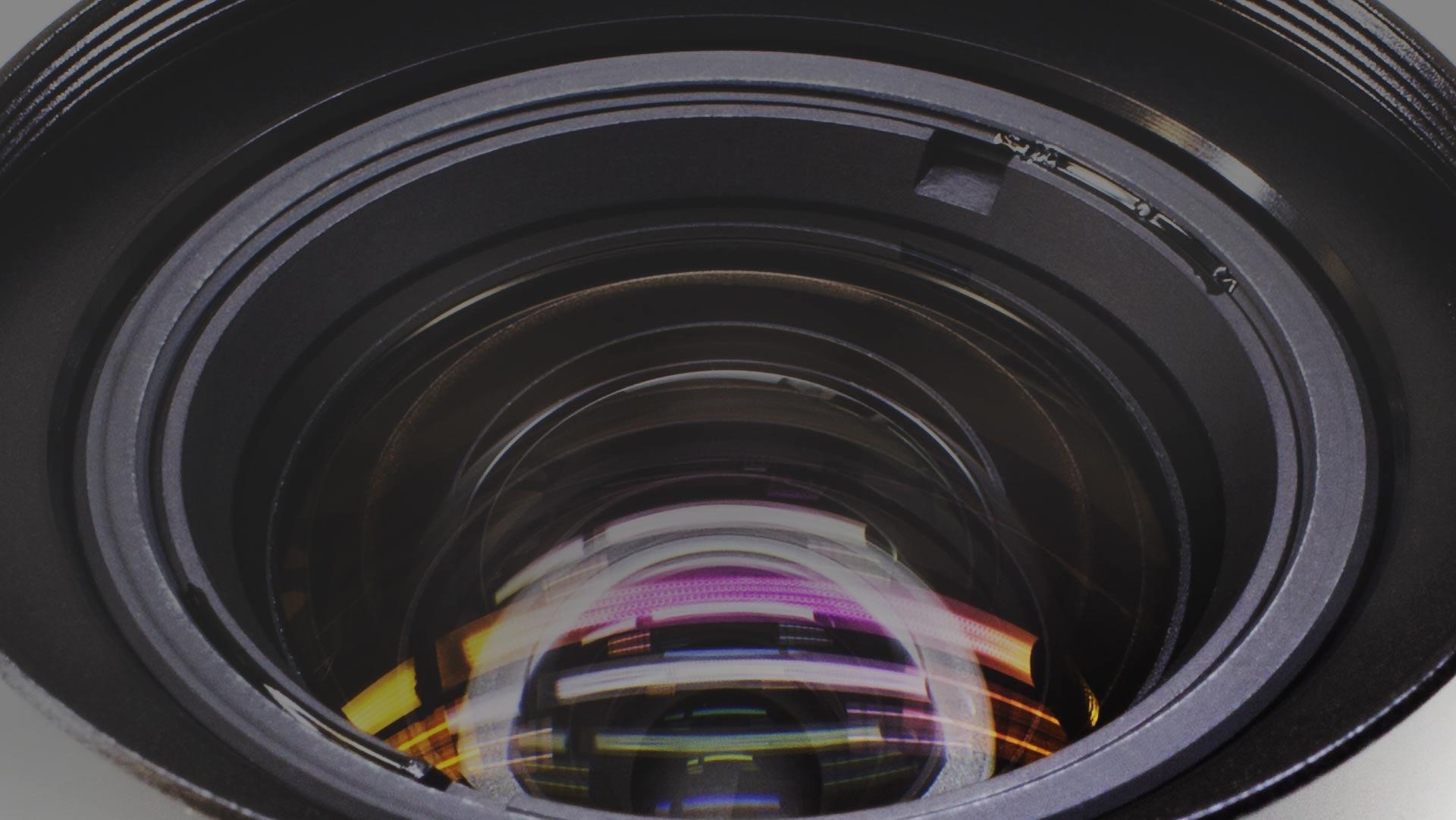 up-close image of machine vision camera lens