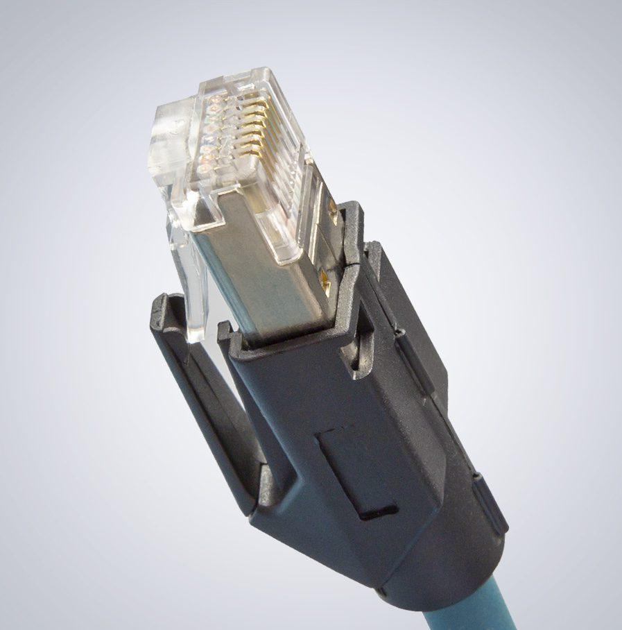 M12 auf RJ45 IP67 Cat6a Kable – 15,0m, Dunkelgrün