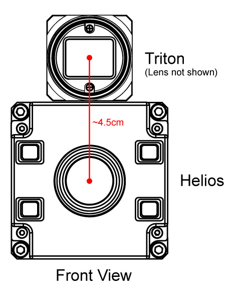 Place the Triton and Helios as close together as possible