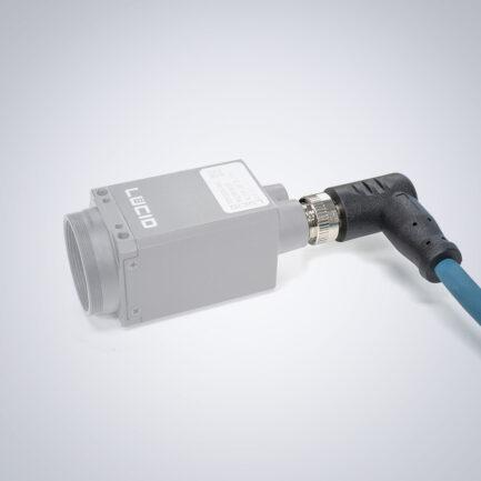 M12 auf RJ45 IP67 Cat6a Kabel [Rechter Winkel, Triton-Seite] – 15m, Dunkelgrün