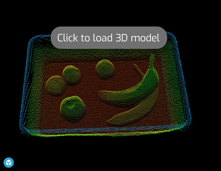 3D Point Cloud of Fruits in Plastic Box