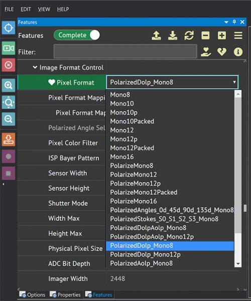 Polarized DoLP Pixel Format