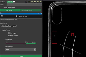 Adjusting Polarizaed DoLP range slider on transparent cell phone cover