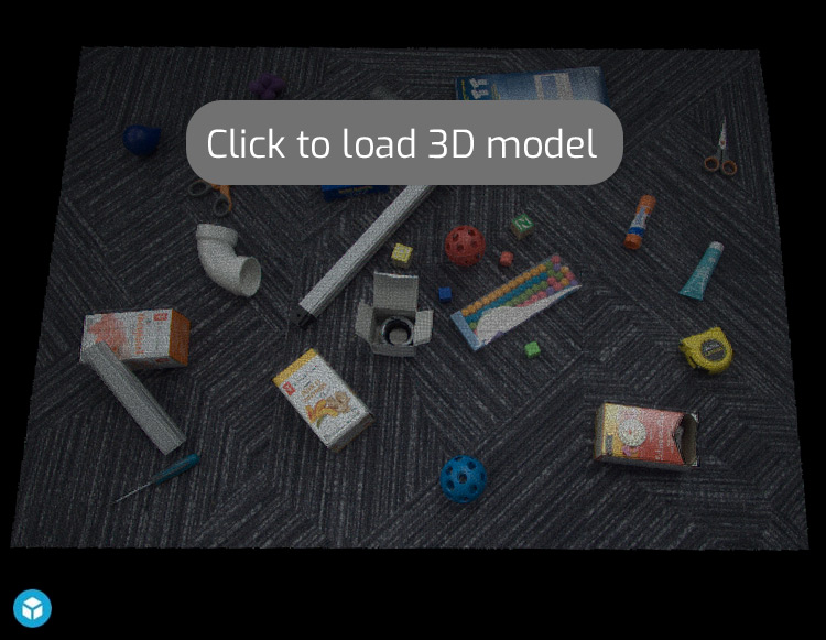 Assorted objects on carpet 3d point cloud