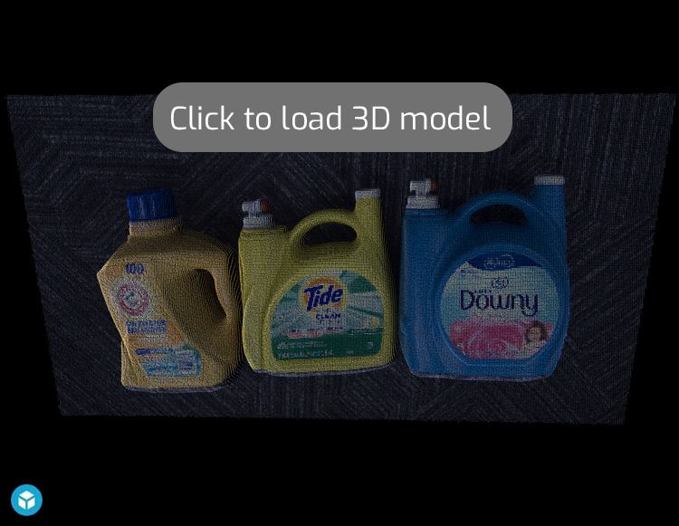 Laundry detergent bottles on carpet 3d point cloud