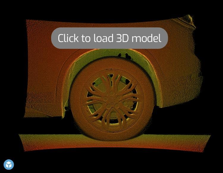 3D Point Cloud of Car Wheel/Side Panel
