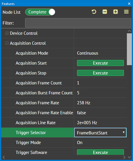 Set Acquisition Burst Frame Count